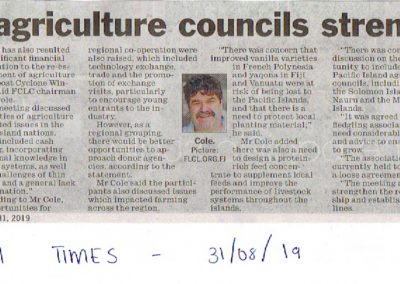 FIJI TIMES NEWSPAPER_REGIONAL AGRICULTURE COUNCILS STRENGTHEN TIES 31-08-19